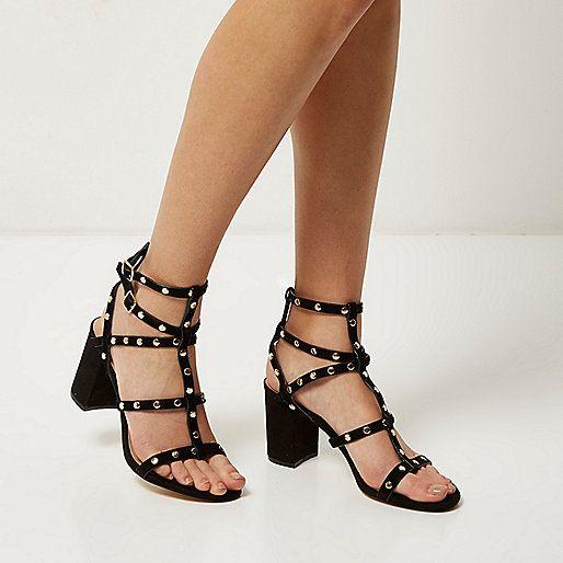 Black suede studded gladiator heels | f o o t w e a r | Pinterest ...