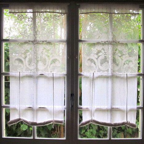 Curtains Ideas cotton curtains white : Tie up Lace Curtains, White French Curtains, Shabby Chic, Hand ...