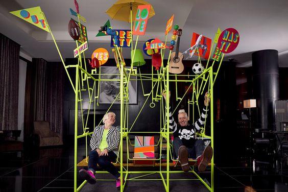 Kinetic installation at Bulgari Hotel by Morag Myerscough & Luke Morgan London  UK