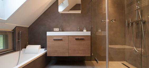 Beton Cire stijlvolle badkamer: Beton Cire bijzonder betonstuc