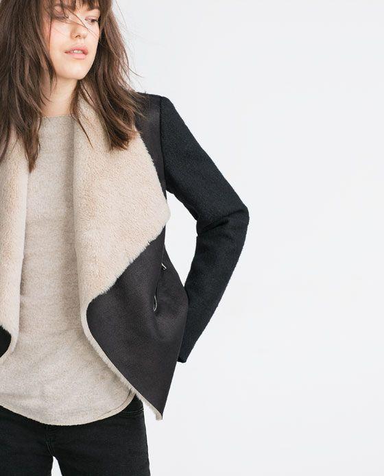 Veste en imitation peau lainée