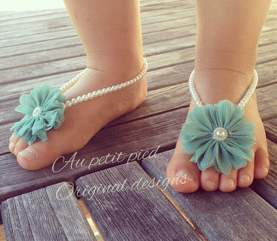 Baby barefoot sandals, teal flower, baby blue, baby girl ...