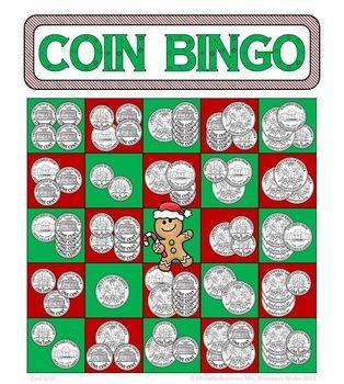 math worksheet : money math  christmas adding coins bingo cards  30 unique cards  : Math Bingo Worksheets