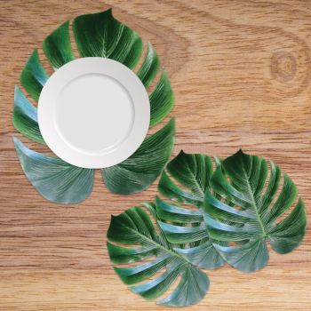 "Our green and lush Tropical Palm leaves come 4 to a pack and are made out of a realistic style of fabric. These fun leaves can be used as decorations on walls or added to tables as a Island style place mat. These Palm Leaves are very natural looking and feeling and will blow in the breeze for a natural effect at your next Luau or Tropical Island Style pool party! The possibilities are endless with these tropical leave props. Each leaf is 11"" tall and 11"" at the widest middle point.:"