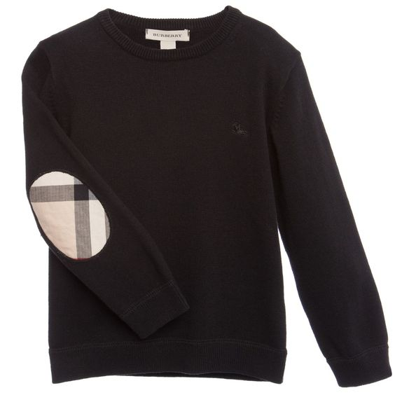 Black Sweater with Check Elbow Patches     , Burberry, Boy