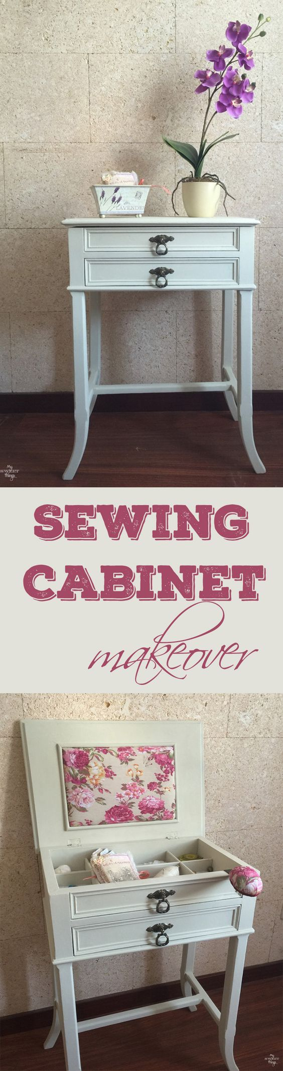 Sewing cabinet makeover from an old sewing cabinet with paint and some pretty…