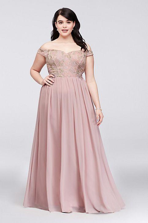Off The Shoulder Lace Corset Plus Size Gown David S Bridal Plus Size Gowns Plus Size Long Dresses Plus Size Wedding Guest Dresses