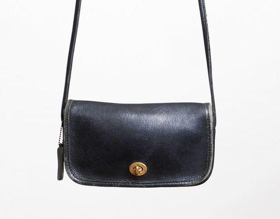 Vintage 90s Coach Black Leather Penny Shoulder Bag