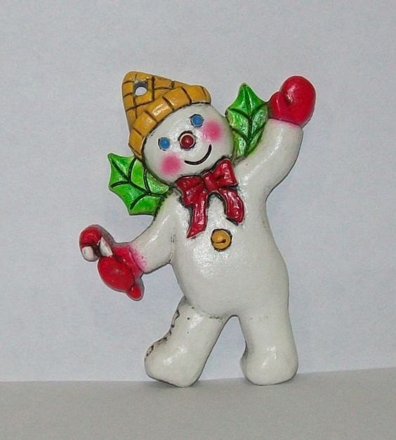 Rare Vintage Spirit of Mr Bingle Snowman Christmas Ornament New Orleans Icon, 3 inches tall.