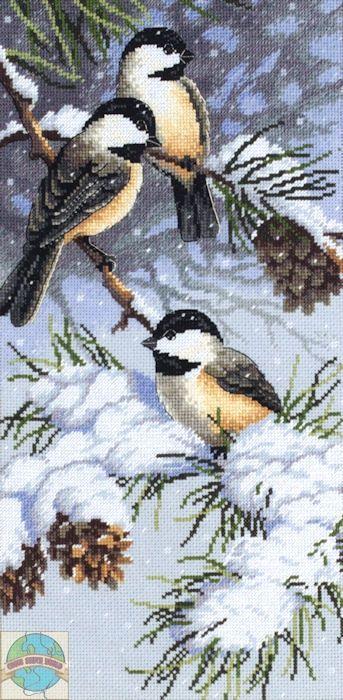 tiny birds in the snow