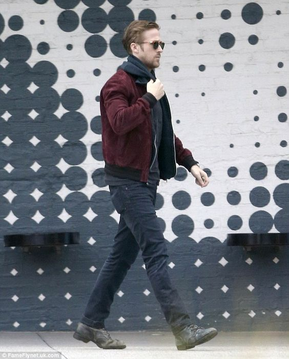 Ryan Gosling steps out in black and burgundy #dailymail