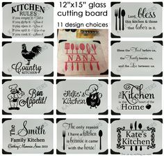 Personalized glass cutting board with 11 design by KatesCoasters