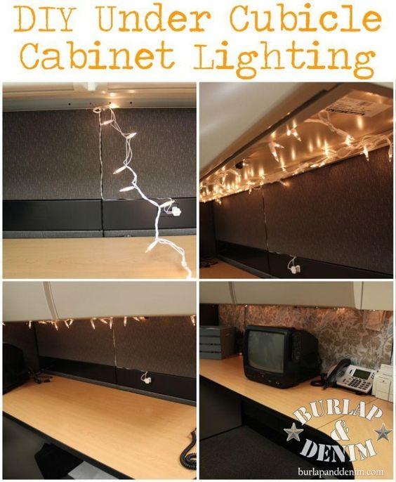totally doin it diy under cubicle cabinet lighting burlapanddenim cabinet lighting flip book
