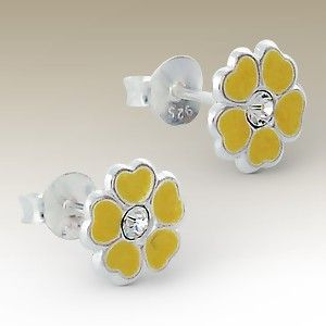 Flower ear studs with crystal stones - Finishing: E-coat 925 Sterling silver Design from Bangkok925.com  Dimensions:  0.8x0.8cm.  nice Silver Children Ear Studs at $2.04