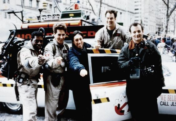 #Ghostbusters cast with director Ivan Reitman behind the scenes