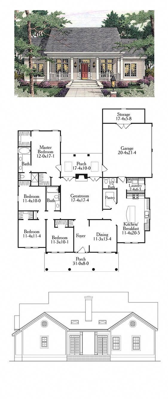 Colonial Style Cool House Plan Id Chp 34123 Total Living Area 1997 Sq Ft 4 Bedrooms And 2 5 Bathroo Colonial House Plans Colonial House Best House Plans