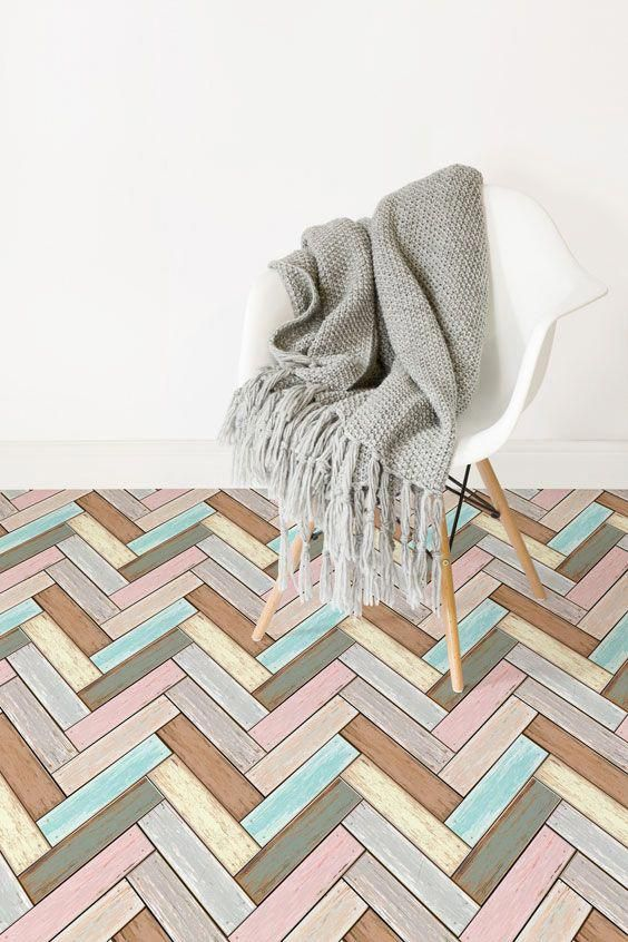 Our Parquet Vinyl Flooring Is Fun Pastel Wood Effect Vinyl