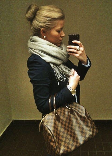 hair, scarf, blazer, and bag
