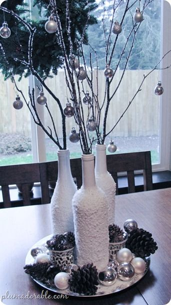 frosted bottles - pretty craft for next winter: