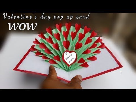 Hand Made Gift For Valentine S Day Valentine S Day Pop Up Card Tutorial 3d Heart Paper C Hearts Paper Crafts Pop Up Valentine Cards Valentine Cards Handmade