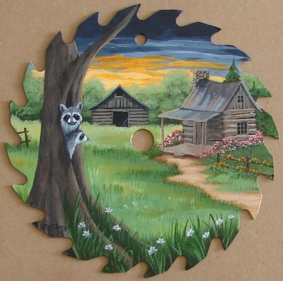Hand Painted Saw Blade Raccoons Barn Log Cabin Decor Sunset Folk Art Americana