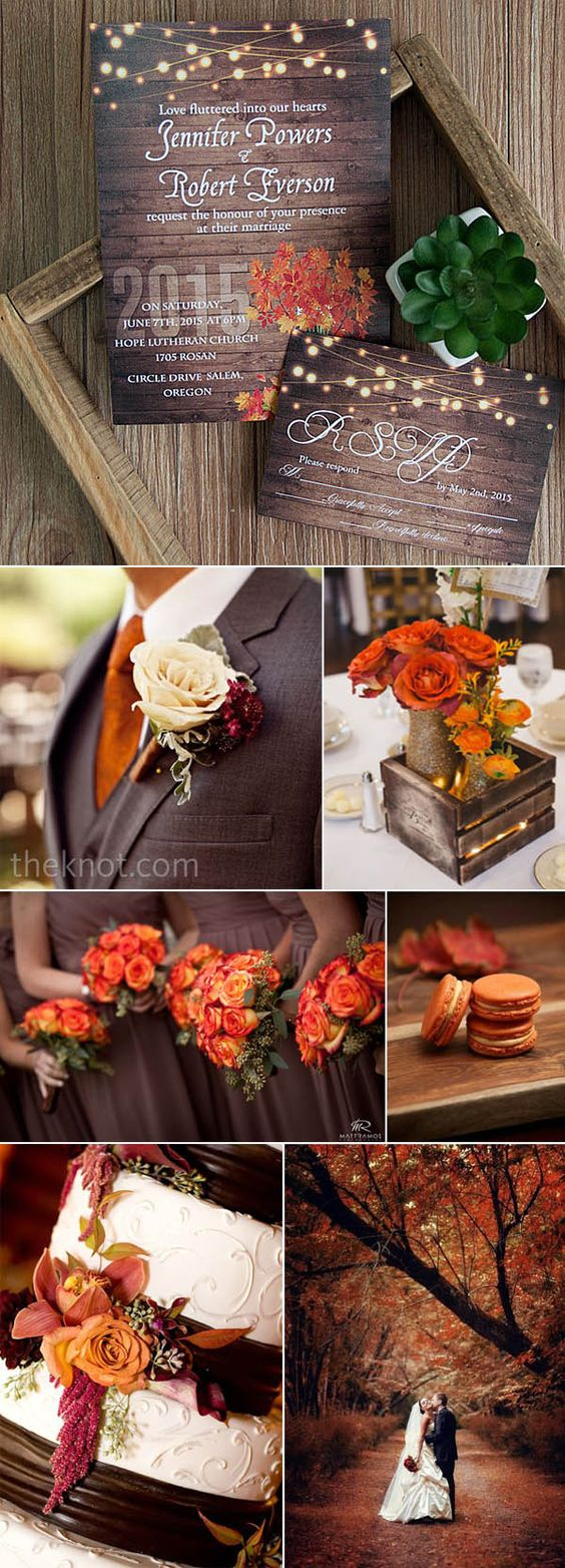 brown and orange fall and autumn wedding ideas and invitations: