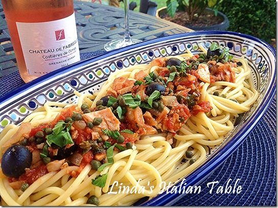 Recipe of the Month May: Bucatini with Sicilian Tuna Sauce http://www.lindasitaliantable.com/recipe-of-the-month-may-bucatini-with-sicilian-tuna-sauce/