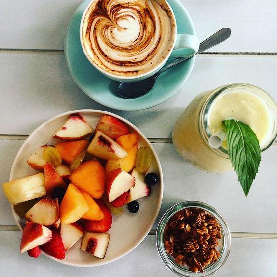 G O O D  F R I D A Y  Kicking off the long weekend well! #coffee #granola #breakfast #fruit by hermslawton