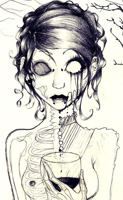 Gallery For gt Girl Zombie Face Drawings