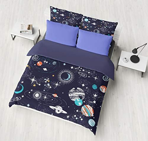 Cot Bed Duvet Cover And Pillowcase Set Blue With White Stars Cot Bed Duvet Cover Duvet Sets Cot Bedding