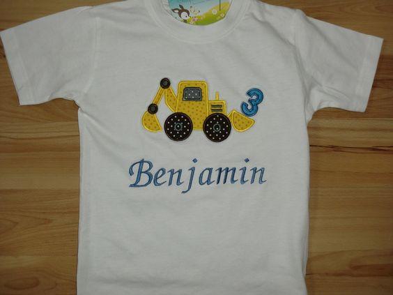 Geburtstagsshirt ♥♥♥ Bagger ♥♥♥ von  Stupsnadel auf DaWanda.com