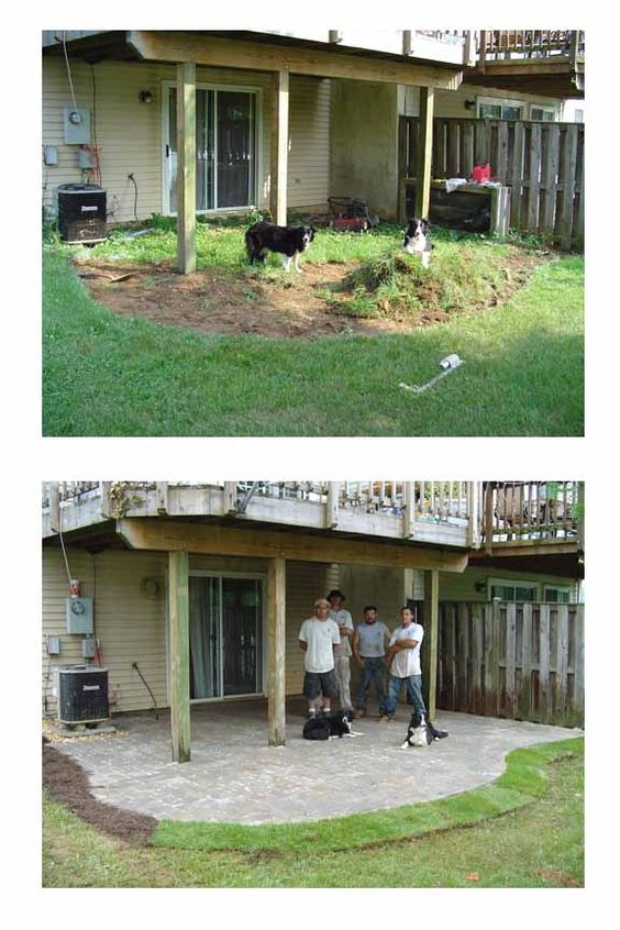 Patio under decks under decks and townhouse on pinterest for Walkout basement backyard ideas