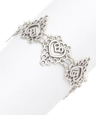 Another great find on #zulily! Silver Open Heart Filigree Bracelet #zulilyfinds