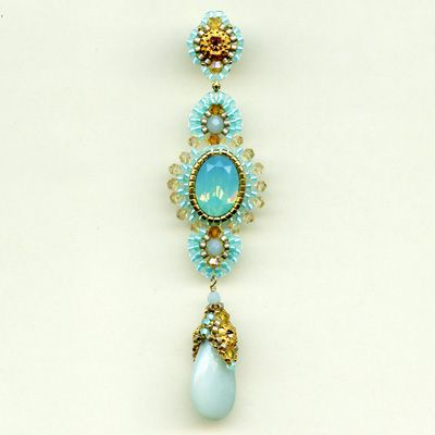 Robins Egg Earring - Miguel Ases  * I MUST learn how to do the beaded cap over the pear beads: