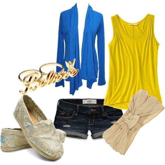 love the blue and yellow #3, created by #aaslater on #polyvore. #fashion #style Old Navy Hollister Co.