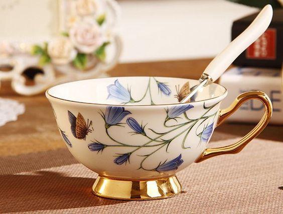Blue Orchid Floral Tea Cup & Spoon Set