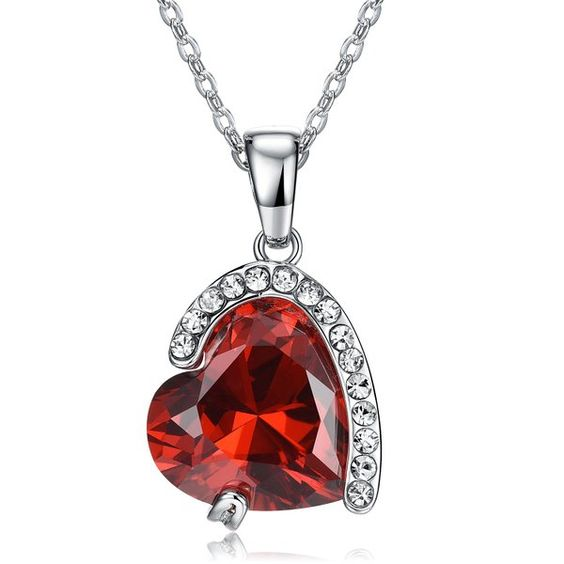 Necklace Red Ruby Womens Wedding Anniversary Gifts, Wife Birthday Necklaces for Women (Red)