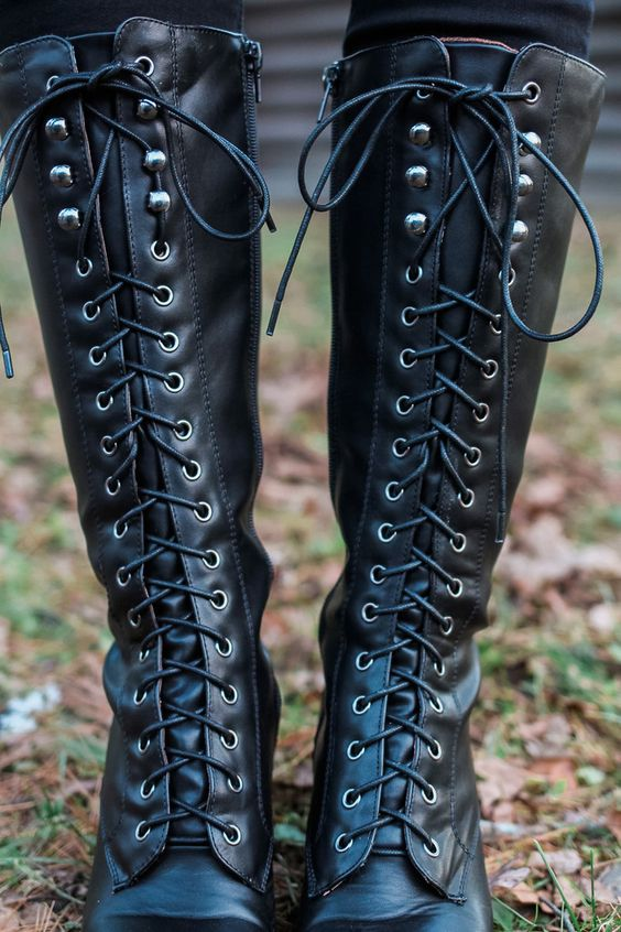 Tall Lace Up Heel Riding Boot