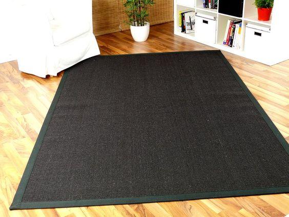 Sisal Natur Teppich Schwarz Bordüre Schwarz in 12 Größen 1