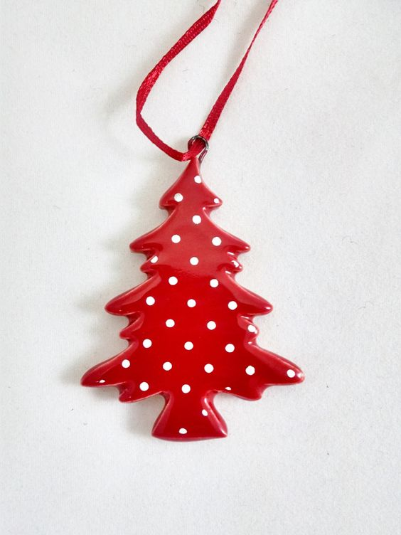 Scandinavian Modern Polka Dot Christmas Tree Ornament