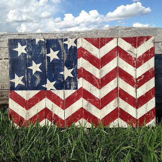 American Flag Rustic Chevron Pallet Wood Sign by TheCreativePallet