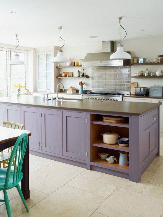 Purple painted island counter. I love a contrasting island and/or lower cabinets!