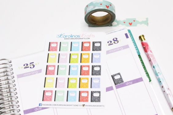 This set will include 30 Composition Notebook Stickers that look great in the weekly boxes of the erin condren life planner or the plum paper
