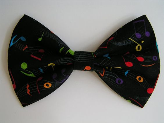 Music notes hair bow, hairbows for girls, hairbow, fabric hair bows, women, black bow