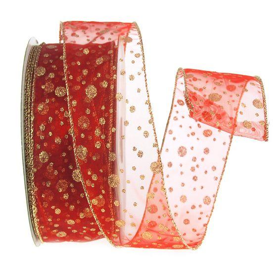 Glitter Dots Red Organza Ribbon Wired Edge, 2-1/2-inch, 50-yard