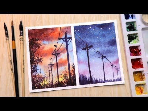 Watercolor Painting For Beginners Sunset And Evening Landscape