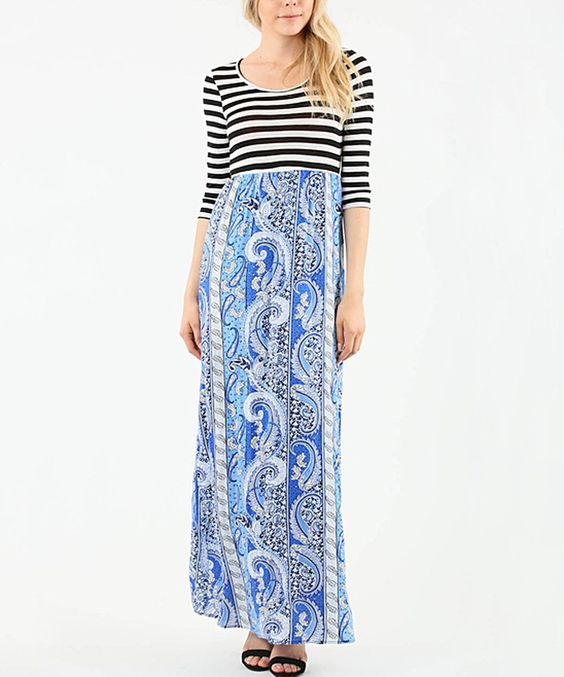 Another great find on #zulily! 42POPS Royal Paisley & Black Stripe Maxi Dress by 42POPS #zulilyfinds