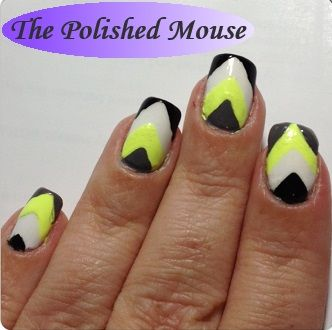 Neon Chevron  Polishes Used: chinaglaze - Recycle; ORLY - Key Lime Twist, Liquid Leather; Sinfulcolors Professional - Snow Me White; & #sechevite - Fast Drying Topcoat to finish.