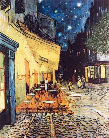 Vincent van Gogh - Terrasse des Cafes an der Place du Forum in Arles am Abend