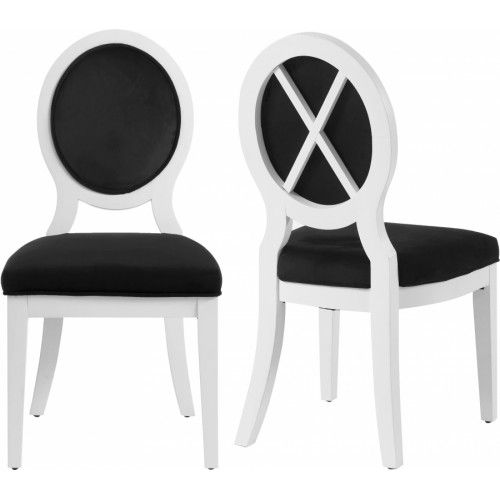 White Glossy Wood Black Velvet Fabric Dining Chairs Set Of 2